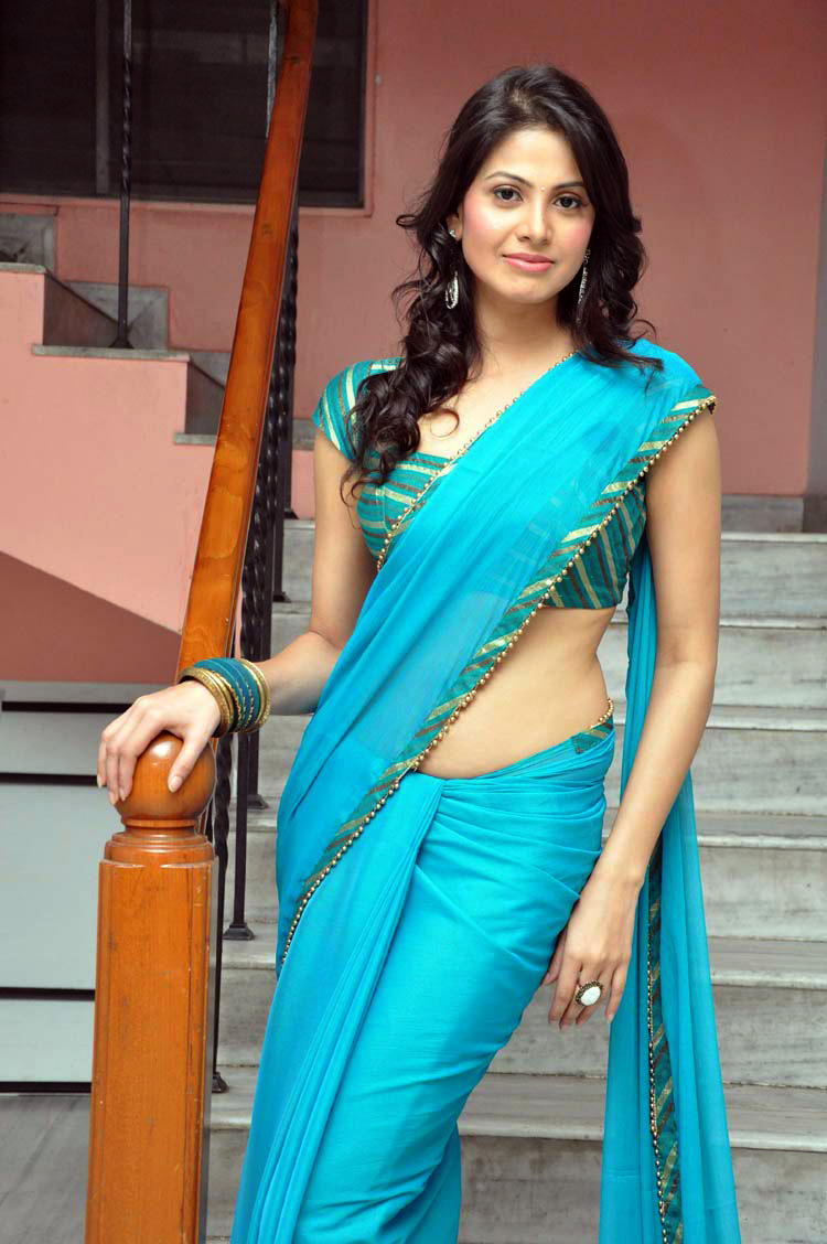 Actress Supriya Shailja Blue Saree Galleries