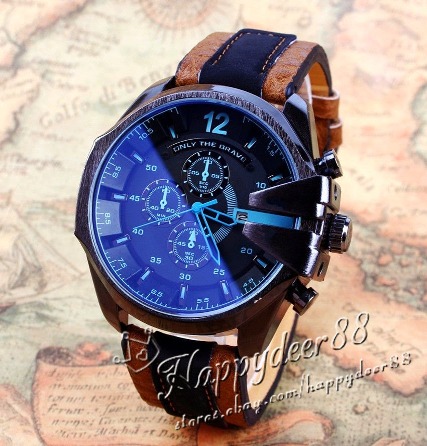 Luxury Men's Watch Analog Sport Steel Case Quartz Dial Leather Wrist Watch Gift