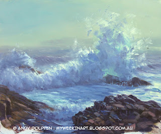plein air seascape sketch in oil by Andy Dolphin