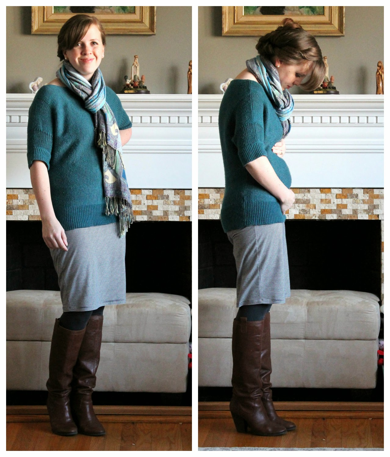 A blog for my mom fashion in the first trimester and fourth heres that skirt again and me about 6 weeks pregnant do you see what a nice slouchy sweater and scarf can do to hide a bump ombrellifo Image collections