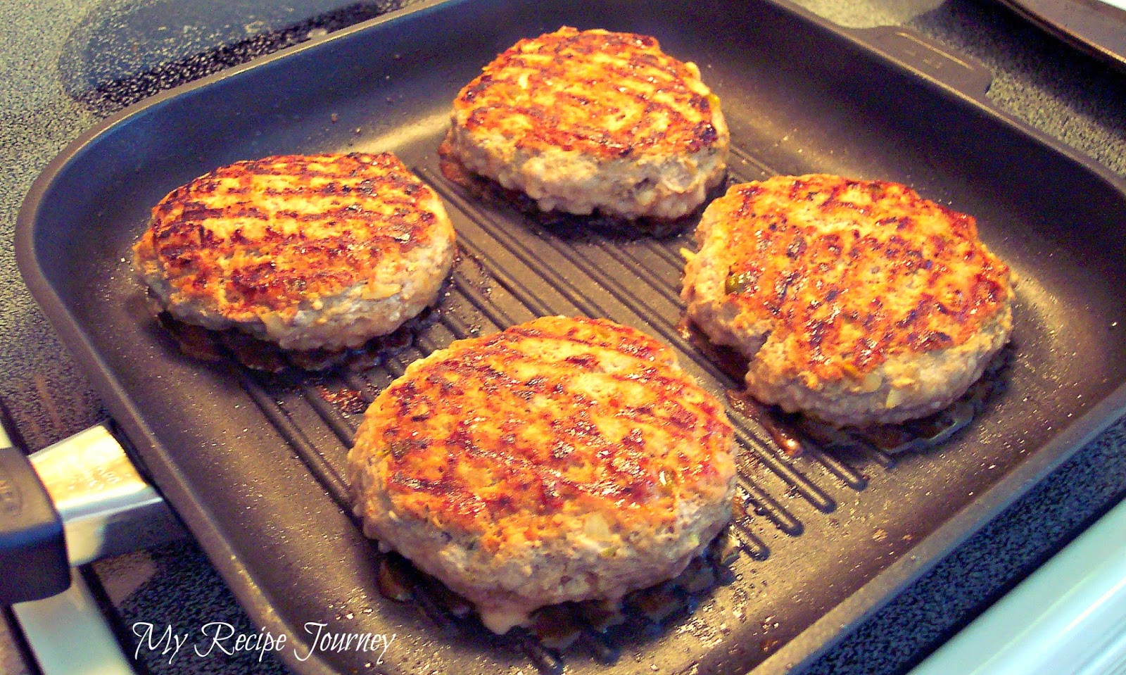Smoky Spicy Turkey Burger with Caramelized Onions and Spicy Sweet Mayo