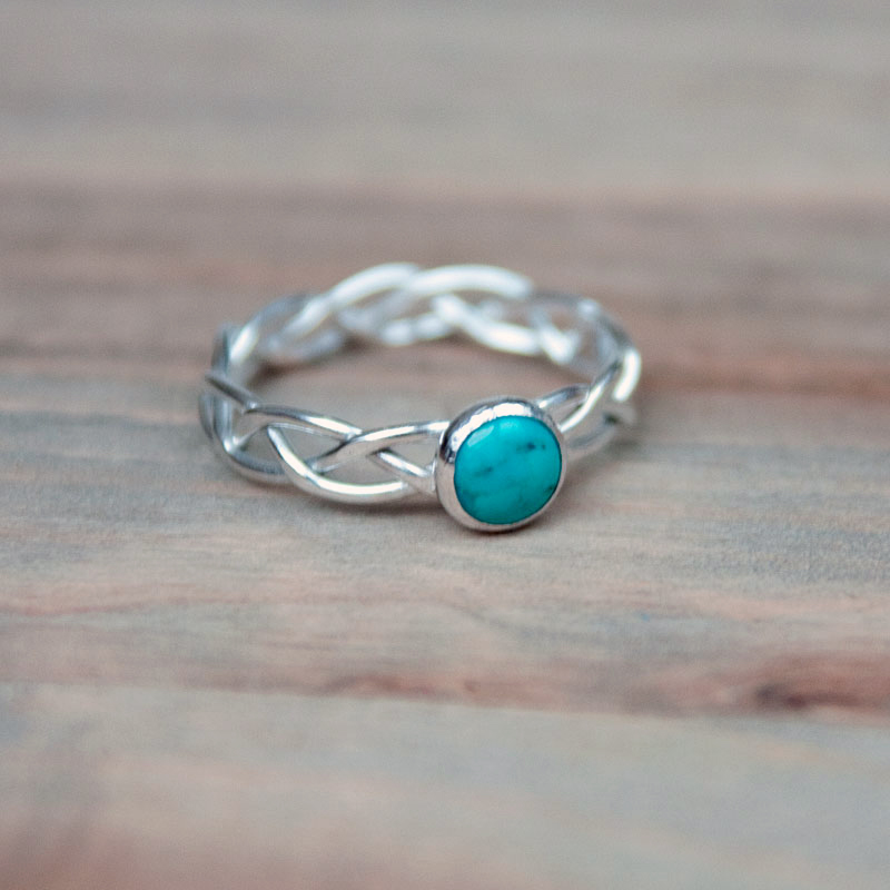 braided silver ring set with turquoise cabochon 6mm