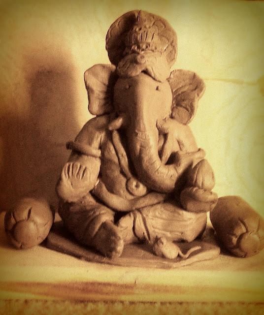 Handmade clay ganesha