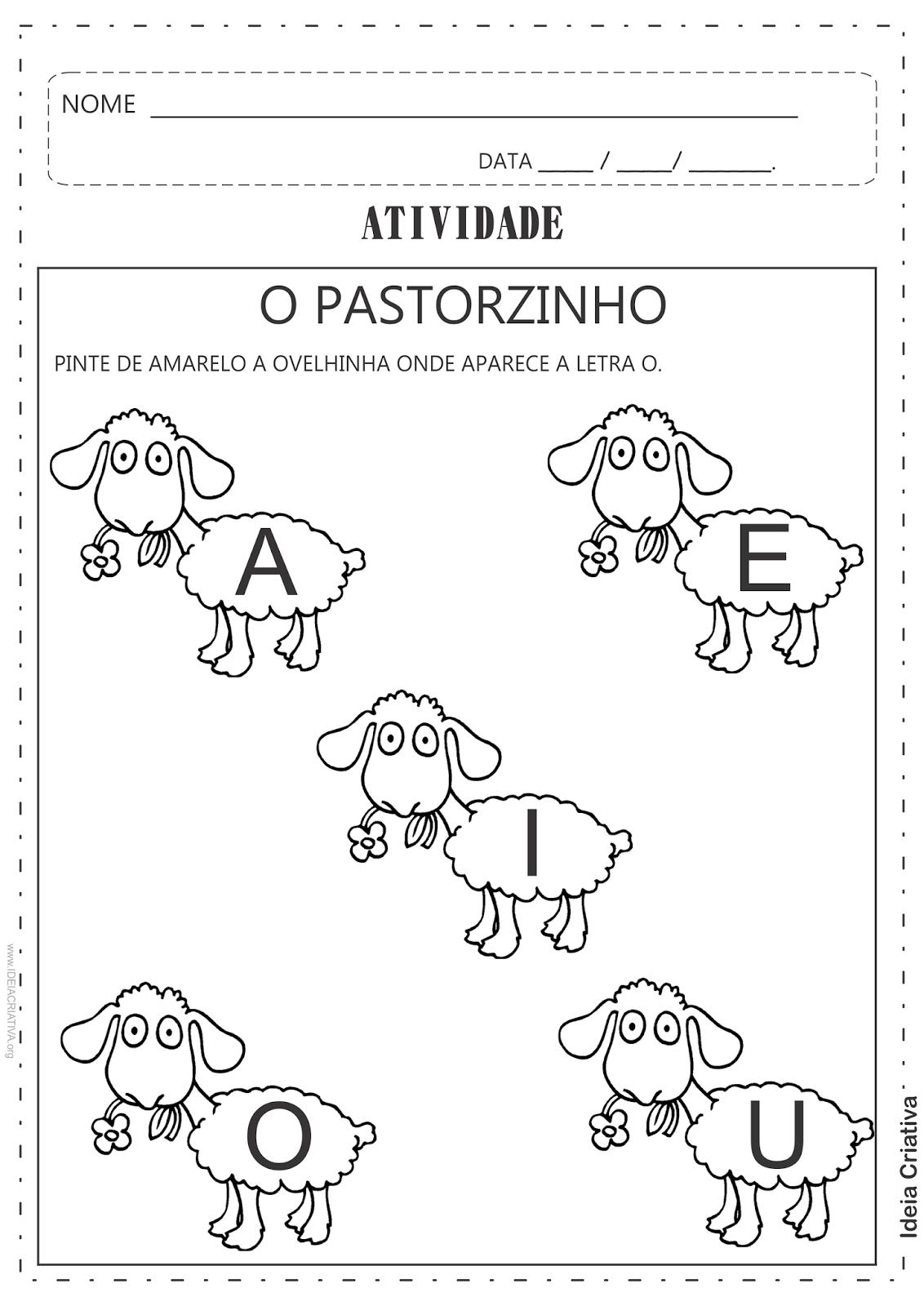Atividades O Pastorzinho trabalhar Vogais