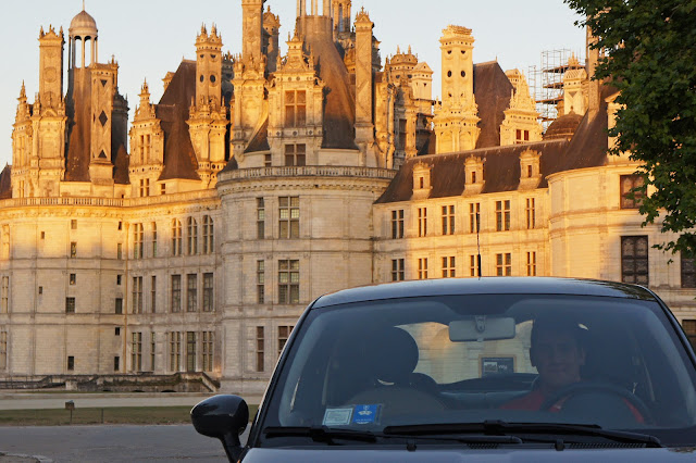 chateau chambord, france, sunset, road trip