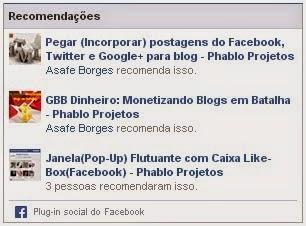 Widget lista de posts recomendados do Facebook no Blog