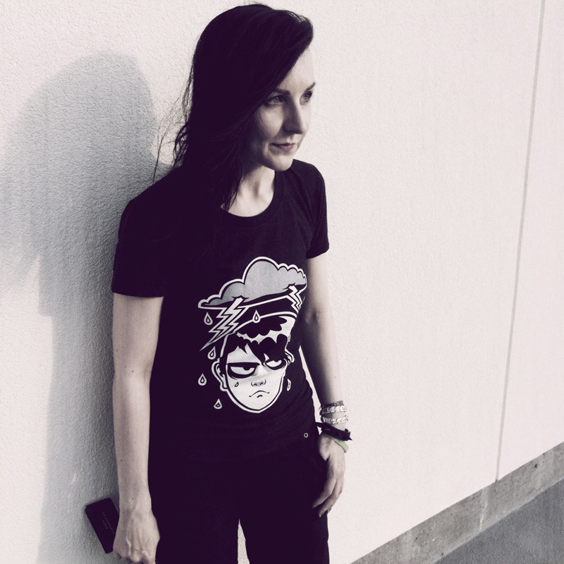 blacklilypie wearing regular day tshirt by society6 grumpy tshirt