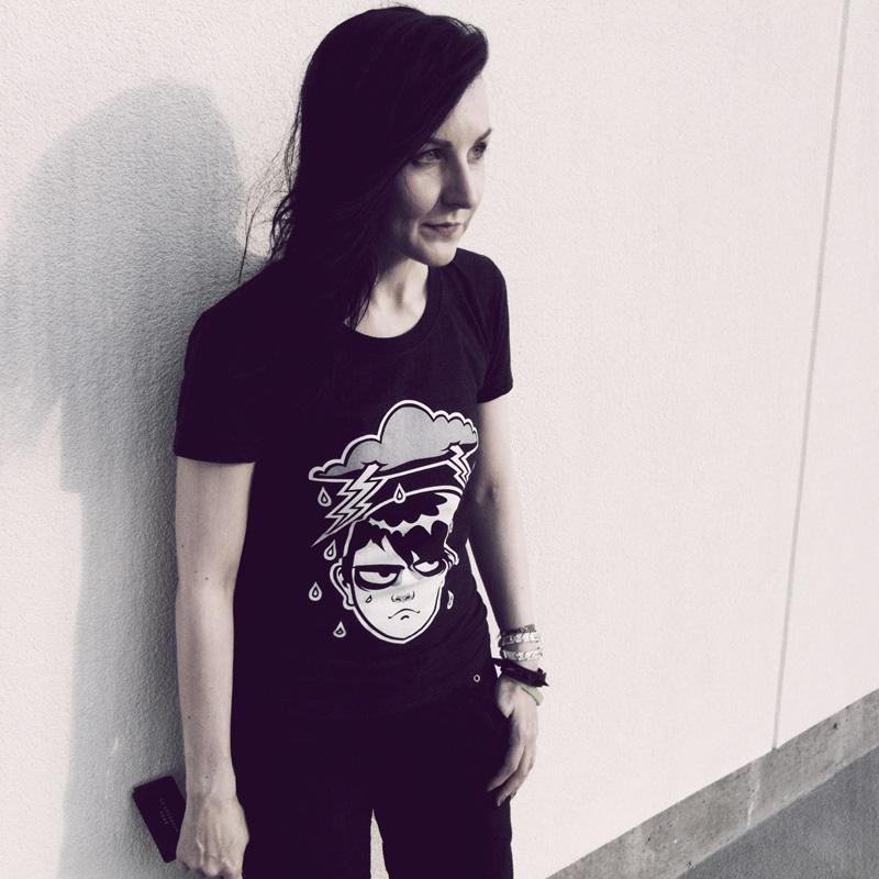 blacklilypie wearing regular day tshirt by society6 grumpy tshirt