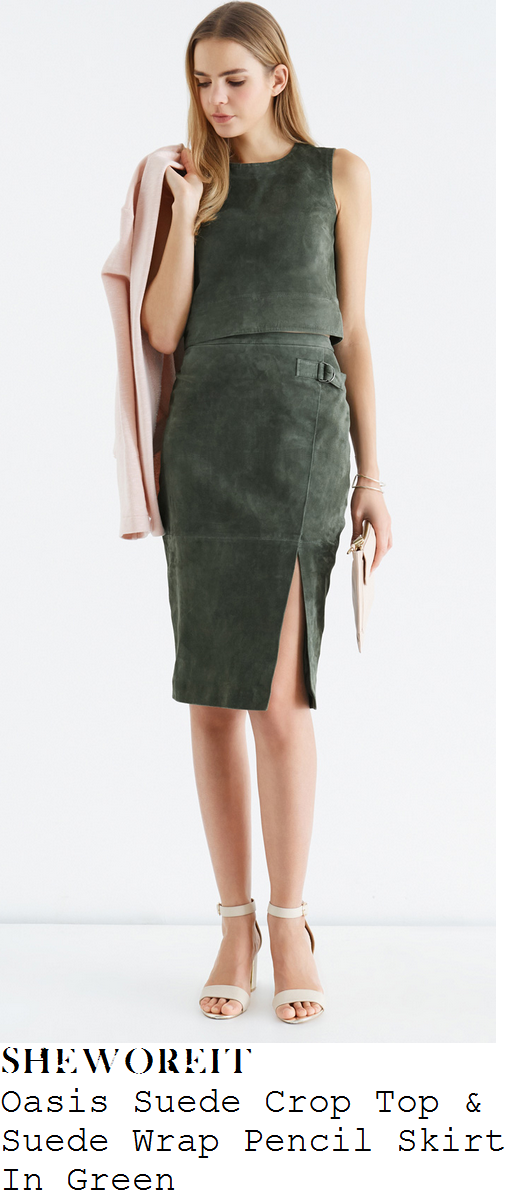 sam-faiers-green-sleeveless-suede-crop-top-and-wrap-skirt-co-ords-the-wright-stuff