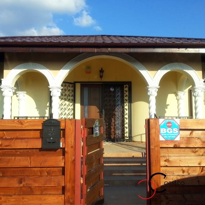 Fatda Casa Balotesti cu Coloane Spiralate si Arcade Inflorate, Casa In Stil Brancovenesc, Terasa Coloane