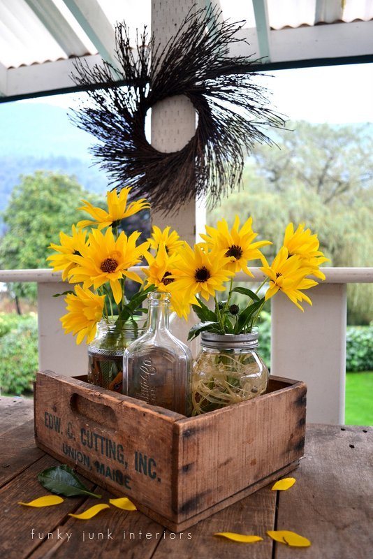 Clothespin and raffia filled mason jar flower vases via Funky Junk Interiors