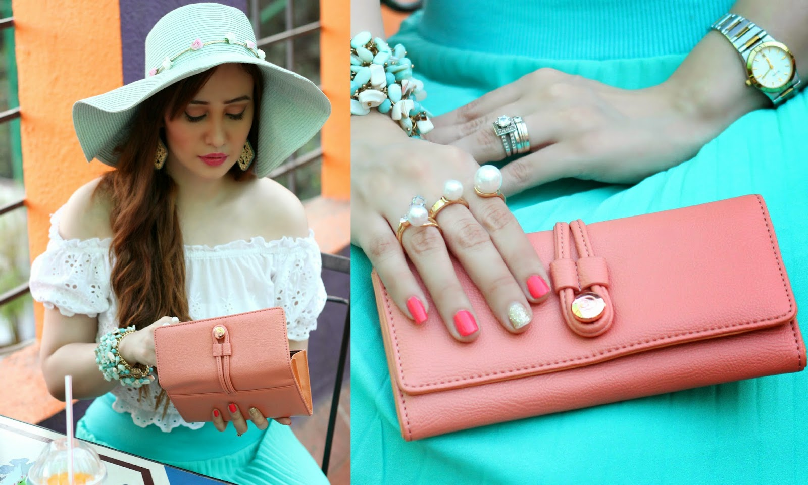 Caprese Pink Walllet, Crop Top, Sun Hat,