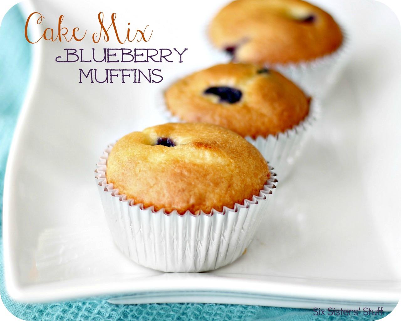 Cake Mix Blueberry Muffins Recipe | Six Sisters' Stuff