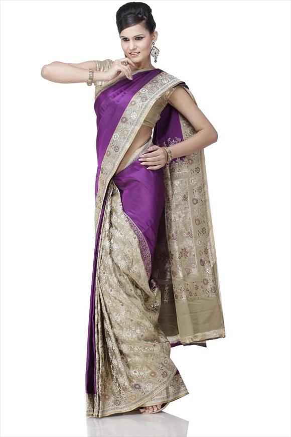 Imperial Purple Art Kattan Silk Banarasi Saree
