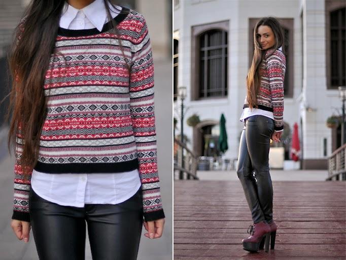 calça skinny, camisa, tricot