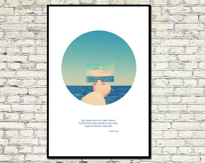 poster of a hand holding a ship image on the water's horizon
