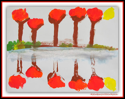 Fall Trees Reflected in Water: Kindergarten Paintings via RainbowsWithinReach