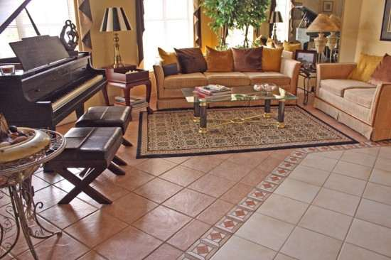 Living room decorating design living room flooring ideas for Tiled living room floor designs