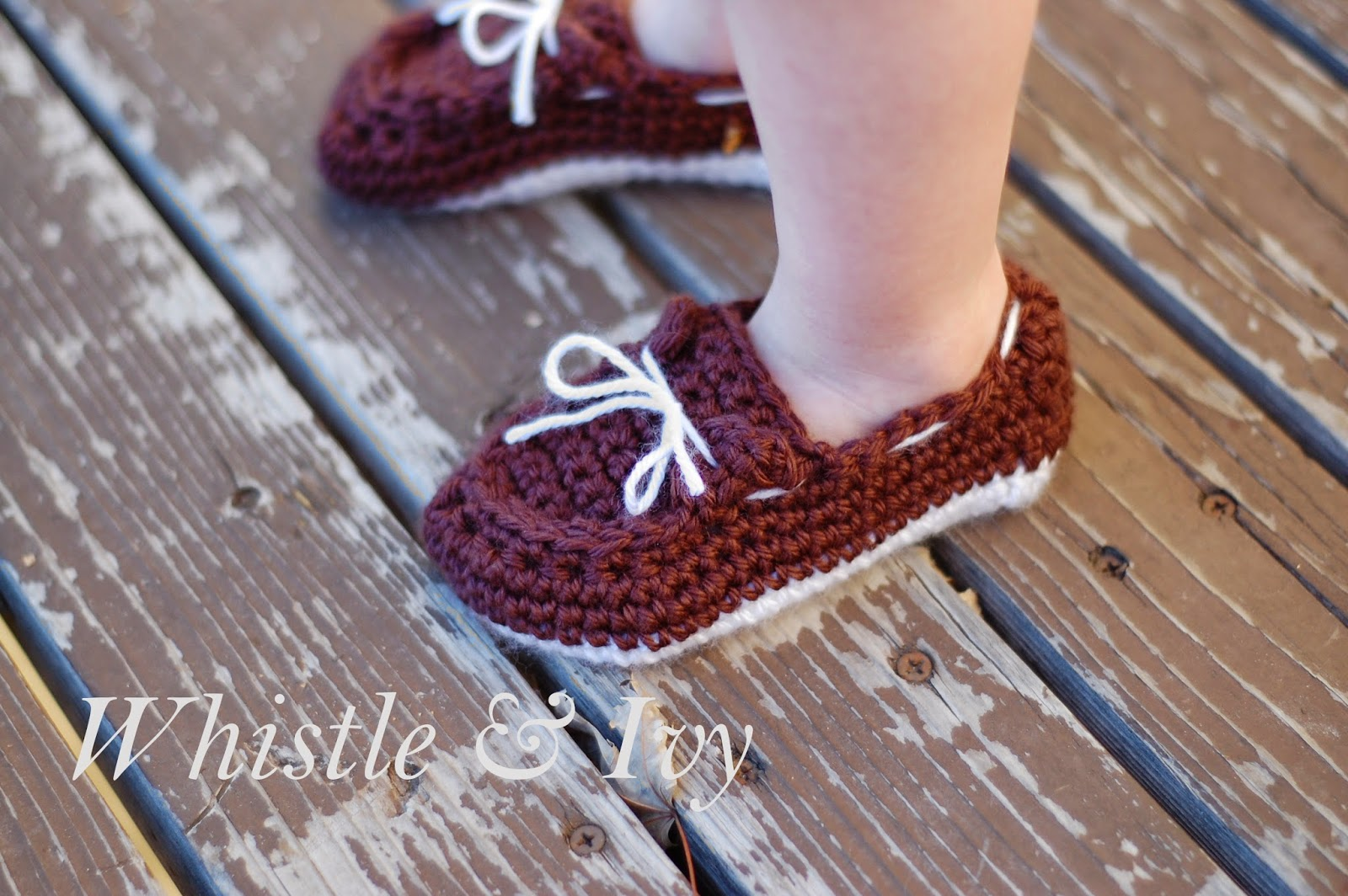 Crochet Pattern For Baby Boat Shoes : Toddler Boat Slippers Crochet Pattern - Whistle and Ivy
