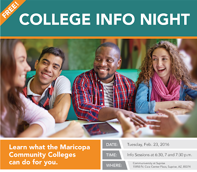 Image of young people gathered around a table.  Text: Free College Info Night.  Learn what the Maricopa Community Colleges can do for you.  Date: Feb. 23, 2016.  Time: Info sessions at 6:30, 7 and 7:30 p.m.  Where: Communiversity at Surprise: 15950 N. Civic Center Plaza Surprise, AZ, 85374