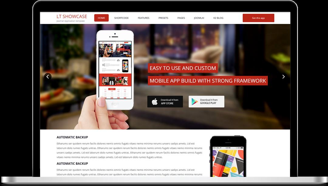 LT App Showcase Onepage - Free Joomla! Template