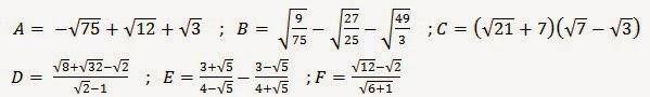 تمارين حول تبسيط تعبير يحتوي على الجذر مربع