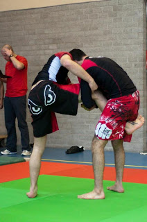 Abou attacking the single leg at the Rotterdam Grappling Tournament