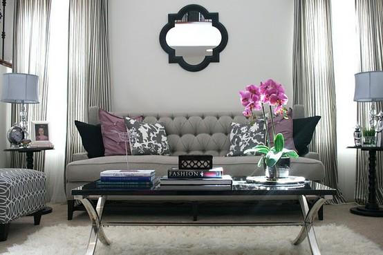 Cheechow grey sofa inspo - Grey and purple living room designs ...