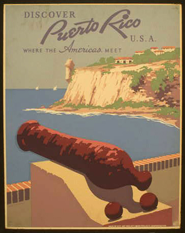wpa, travel, travel posters, vintage, vintage posters, america, retro prints, classic posters, free download, graphic design, Discover Puerto Rico USA, Where the Americas Meet - Vintage Travel Poster