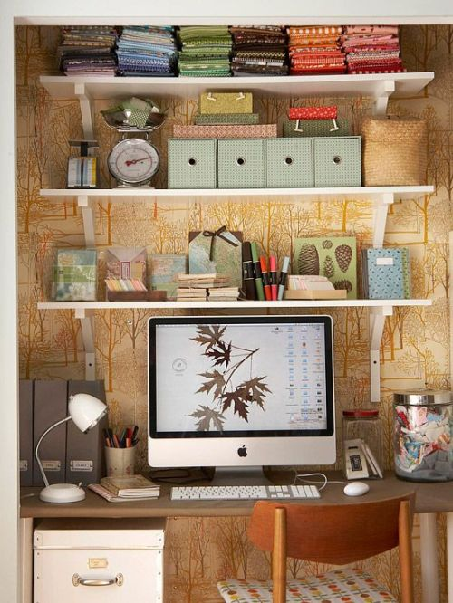 neutral colored and organised home office from a closet