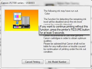 Cara Mengatasi Pesan 'The following ink may have run out' Pada Printer Canon