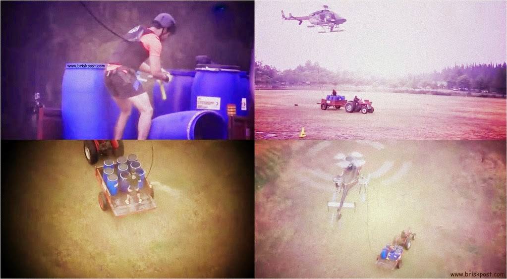 Khatron Ke Khiladi Finalists Gurmeet, Nikitin and Rajneesh performing Aakhiri Udaan stunt in grand finale episode with chopper and tractor