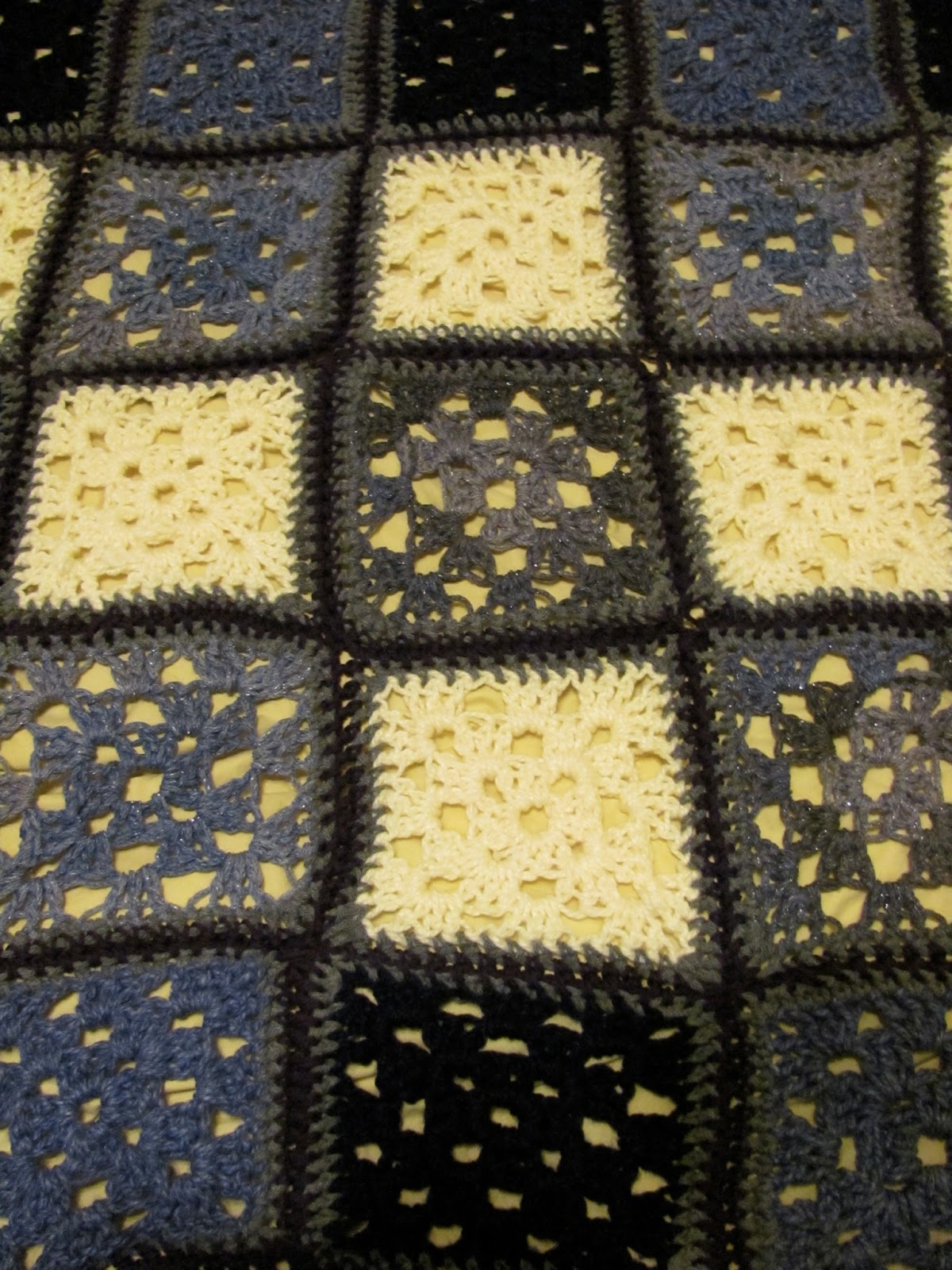 A closer look at the granny square pattern of the Thesis Blanket