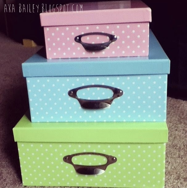 3 polka dot storage boxes from Daiso