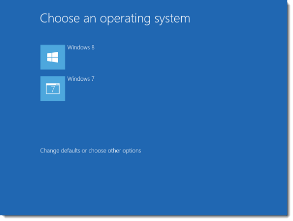 Dual Boot Windows 8 and Windows 7 selection menu