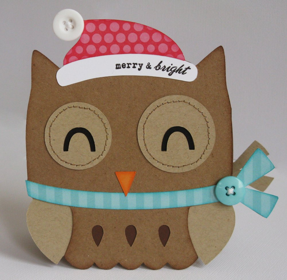 Snippets By Mendi: Day 7- A Santa Owl Shaped Christmas Card