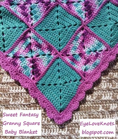 Free Crochet Pattern For Granny Square Baby Blanket : EyeLoveKnots: Sweet Fantasy Granny Square Baby Blanket ...