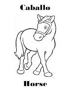 Imagenes para dibujar en Ingles y español: Animales de Granja para Colorear (caballo)