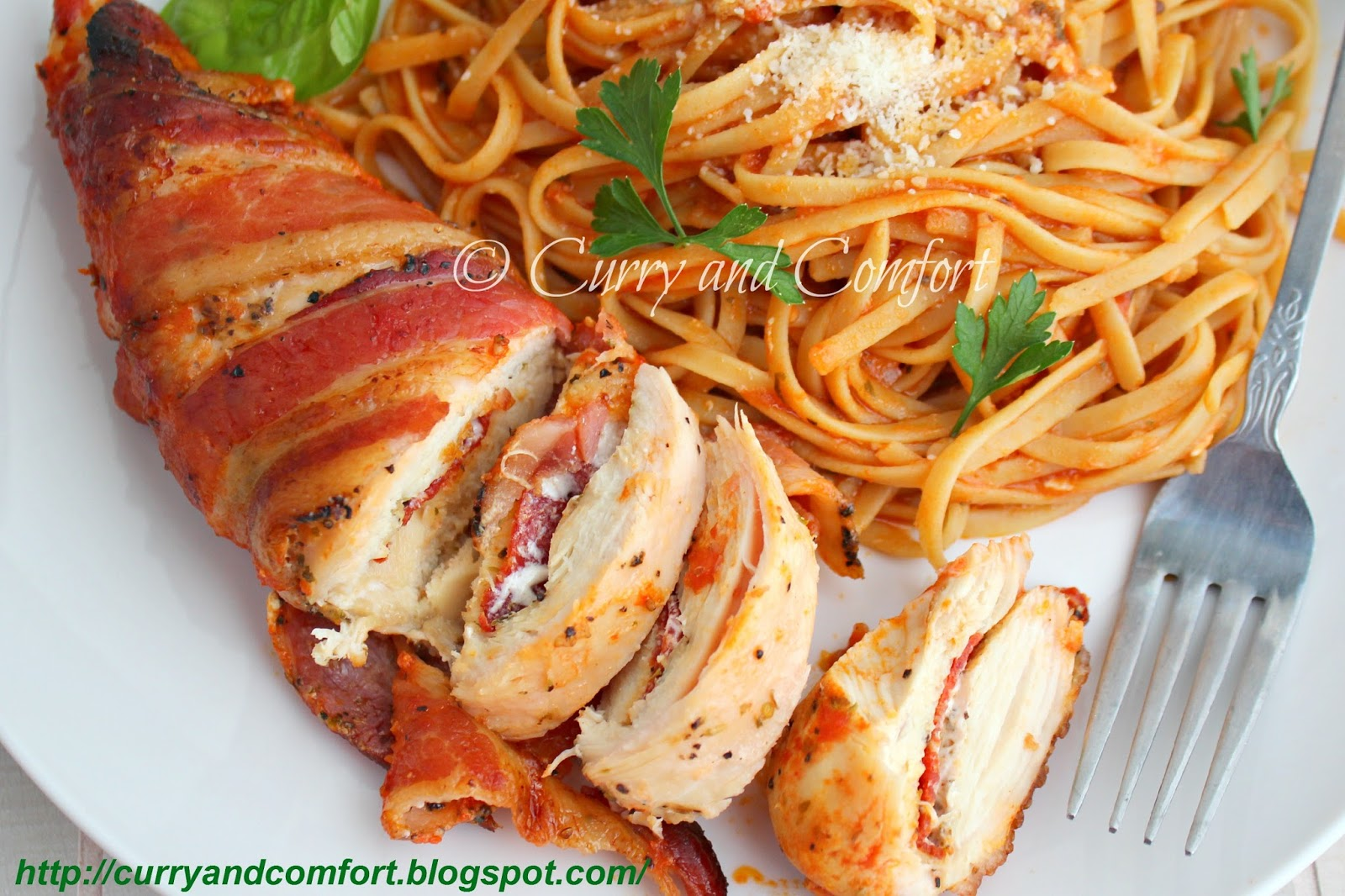 Kitchen simmer pizza stuffed bacon wrapped chicken with pasta day pizza stuffed bacon wrapped chicken with pasta day 3 of bacon week baconweek forumfinder Gallery