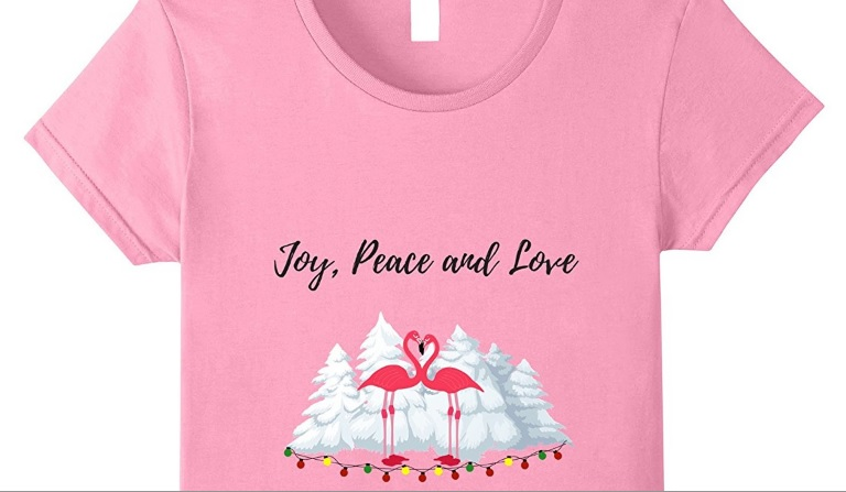 Love Pink Flamingo Christmas T Shirt