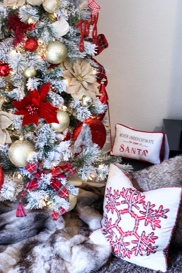 flocked christmas tree faux fur tree skirt plaid pillows