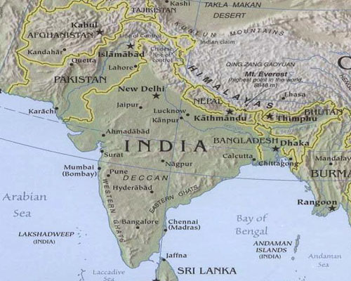 prinrable maps of south asia