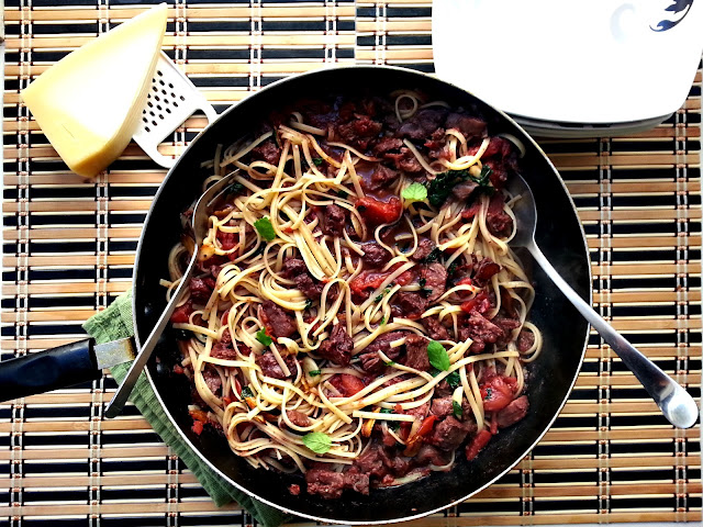 beef brasato with pasta and mint