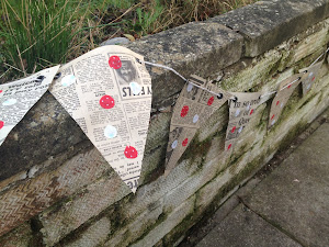 Vintage Newspaper polka dot bunting