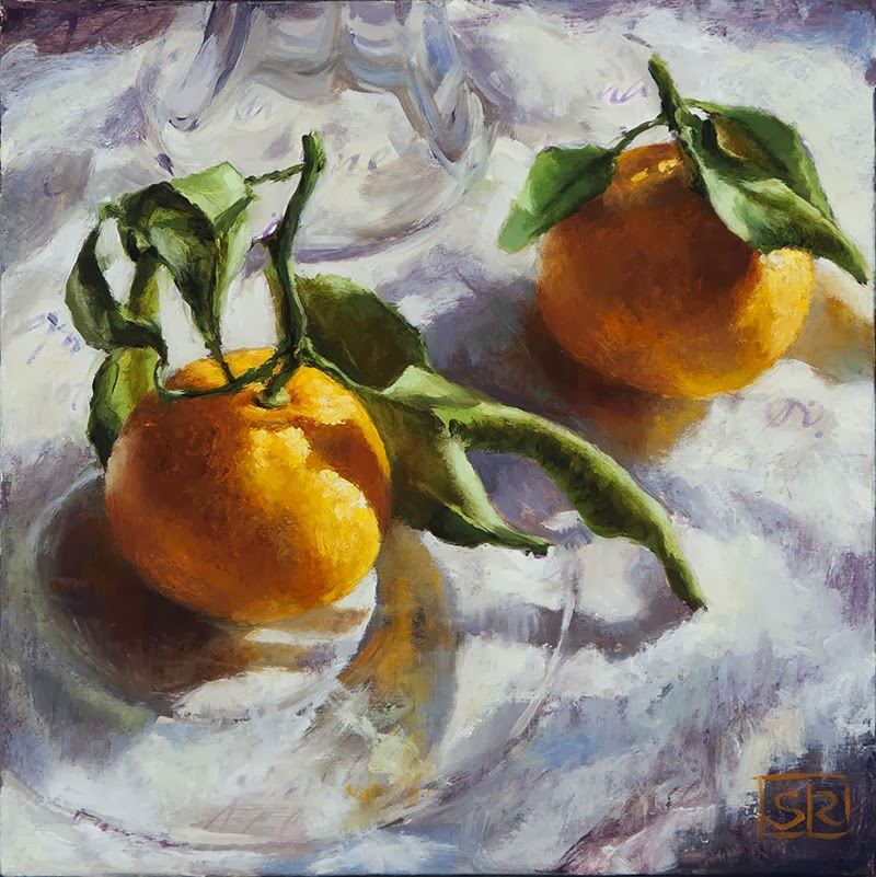 "Two clementines, still life painting, oil on panel, 8"" x 8"" Shannon Reynolds"