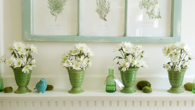 flowers on spring mantel