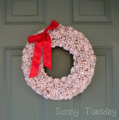 book page pom pom wreath with red bow