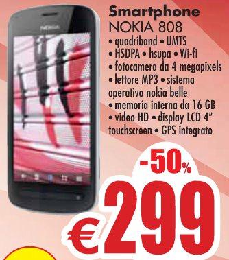 Miglior prezzo per lo smartphone belle con fotocamera da 41 mega pixel Nokia 808 Pure view