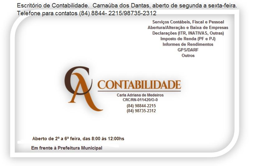 PUBLICIDADE: CARLA e ADJANIRA  CONTABILIDADE CARNAÚBA DOS DANTAS