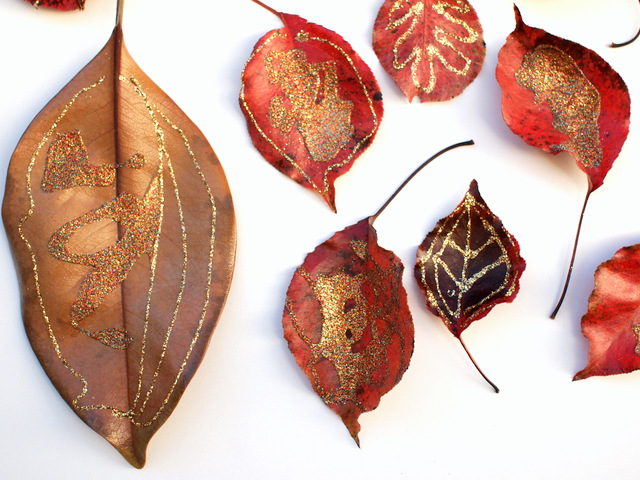 Gorgeous Glittery Fall Leaf Process Art